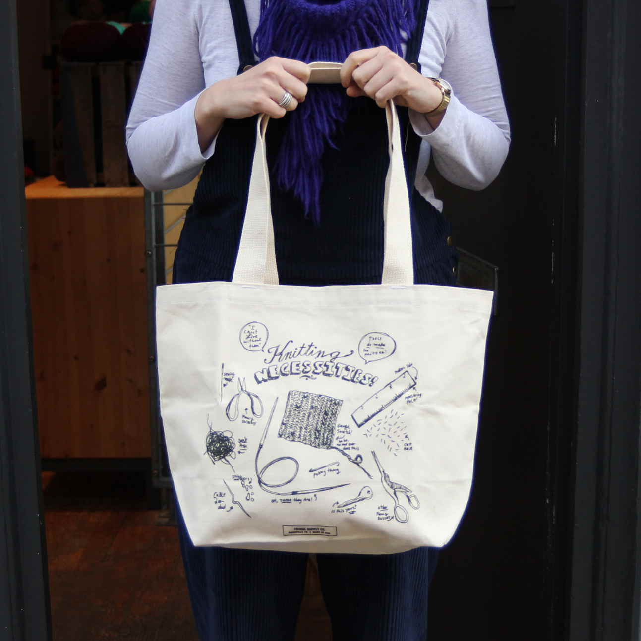 Knitting Necessities, Canvas Tote Bag, Fringe Supply Co.