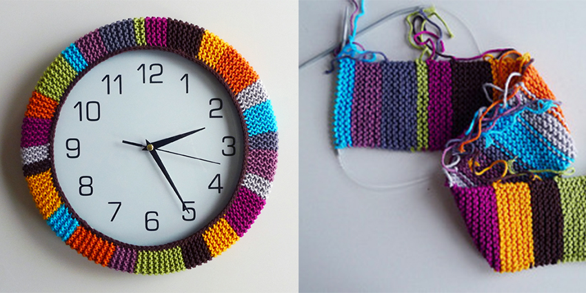 left over yarn clock cover