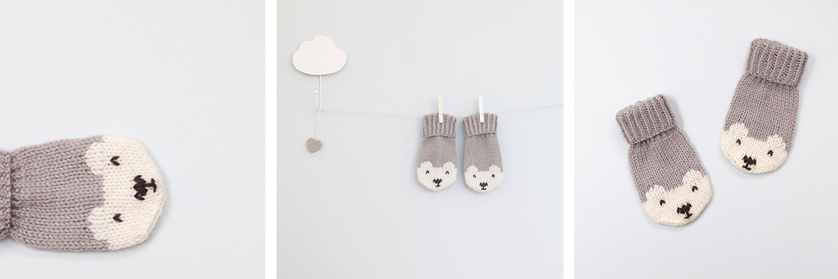 Polar Bear Mittens by Button and Blue