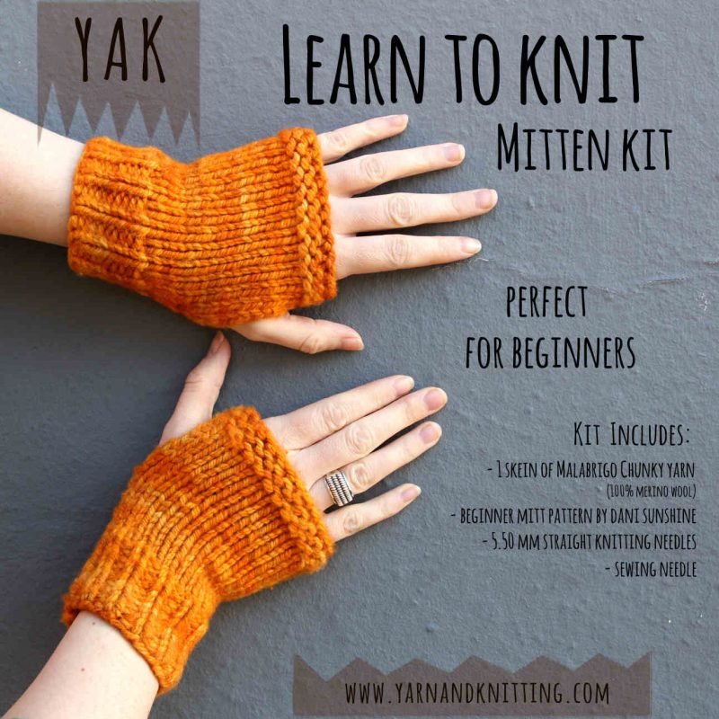 Beginner Kit, Kit, Learn to Knit Kit, Mitts